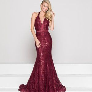Burgundy Halter Sexy Low Back Prom Dress Fit&Flare